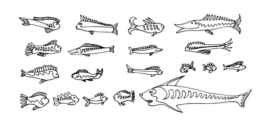 Set of cartoon fishes. Vector hand drawn outline clipart. Aquarium or sea collection. Black isolated on white background.