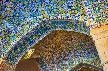Tiled details of Vakil Mosque, Shiraz, Iran