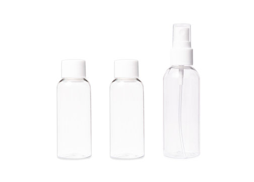 Set of empty travel bottles, isolated