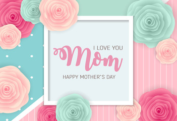 Happy Mother`s Day Background with Flowers. Vector Illustration