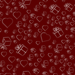 Gifts and hearts on a red background, seamless pattern.. Vector illustration.