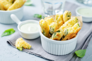 Baked Zucchini Fries with Pesto Greek yogurt sauce