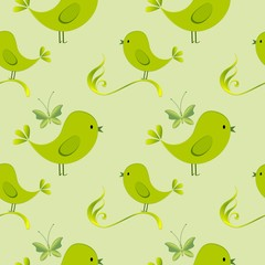 Happy Easter. Seamless  pattern with green birds and butterflies.Childish illustration in cartoon style.