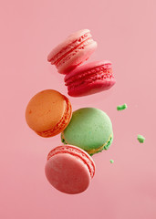 Foto op Textielframe Macarons Colorful macarons cakes. Small French cakes.