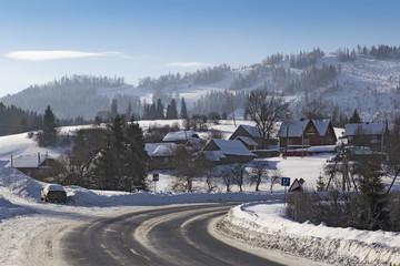 Winding mountain road. Carpathians. Ukraine