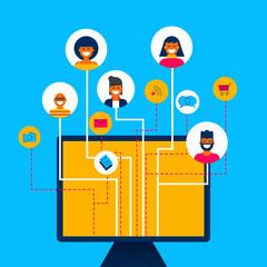 Social media network app concept on computer
