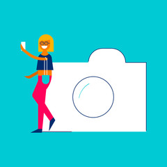 Photo sharing concept girl taking selfie on phone
