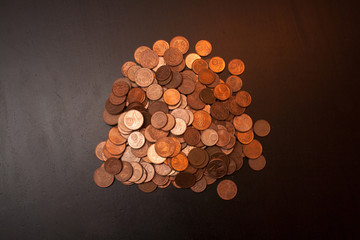 a pile of euro cents