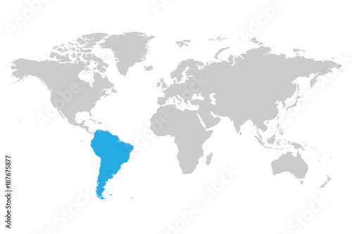 South america continent blue marked in grey silhouette of world map south america continent blue marked in grey silhouette of world map simple flat vector illustration gumiabroncs Gallery