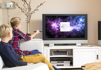 Kids Watching TV Mockup