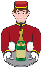 A young smiling hotel bellhop is delivering a bottle of champagne