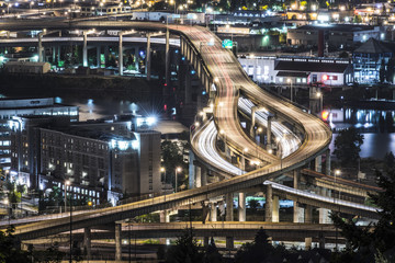 High angle view of elevated roads in city at night