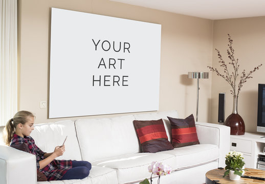 Large Wall Art in Living Room Mockup
