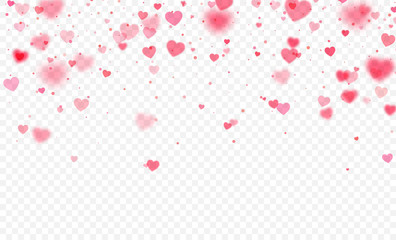 Heart confetti falling on transparent background. Valentines day card template. Vector illustration