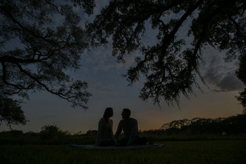 Silhouette couple sitting on blanket against sky in park at night