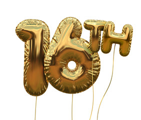 Gold number 16 foil birthday balloon isolated on white. Golden party celebration. 3D Rendering