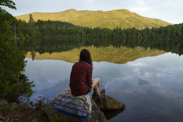 Rear view of woman looking at view while sitting on rock by pond in forest