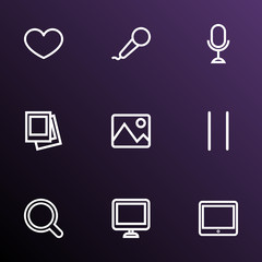 Multimedia icons line style set with magnifier, heart, microphone and other magnifier  elements. Isolated  illustration multimedia icons.