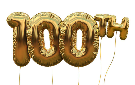 Gold number 100 foil birthday balloon isolated on white. Golden party celebration. 3D Rendering