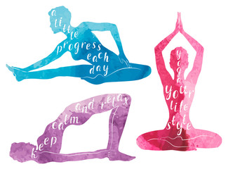 Watercolor Silhouettes of woman practicing yoga, relaxation and meditation