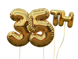 Gold number 35 foil birthday balloon isolated on white. Golden party celebration. 3D Rendering