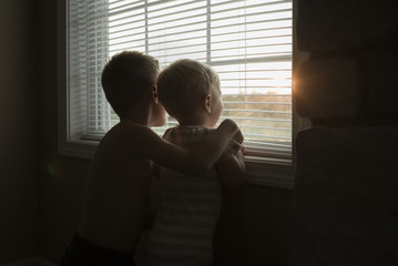 Rear view of brothers looking through window blinds in darkroom