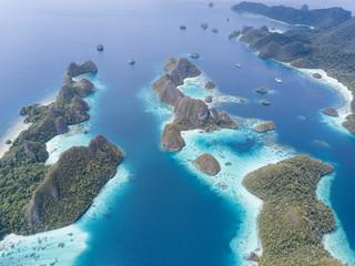 Aerial View of Tropical Islands in Raja Ampat
