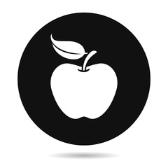 Apple icon isolated vector illustration, hand drawn sign, symbol.