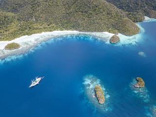 Aerial View of Remote Islands and Beach in Raja Ampat