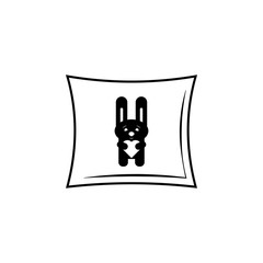 pillow with a rabbit icon. Valentine's Day element icon. Premium quality graphic design icon. Baby Signs, outline symbols collection icon for websites, web design, mobile app