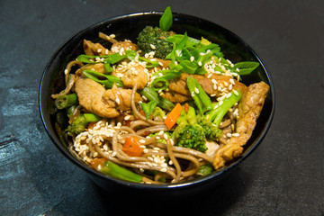 Japanese or Thai or Korean seafood meal. Noodles