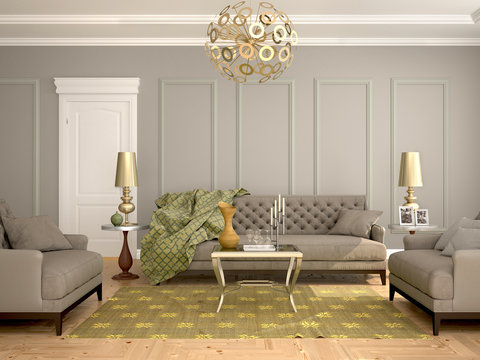 interior  of the living room, modern classic style, with sofa and armchairs. 3d illustration