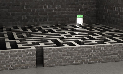 Maze. The light at the end of the maze. 3-d illustration Wall mural