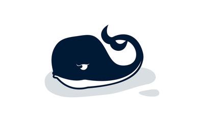 Whale logo template vector, Whale Aquatic animal cartoon