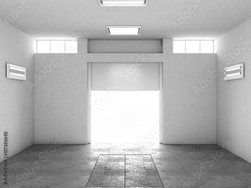 Interior of an empty garage  3d illustration