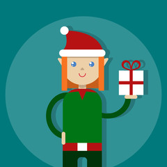 Flat vector illustration cartoon Christmas lucky elf gives a gift
