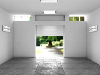 Wall Mural - open garage with a view to the street. 3D illustration