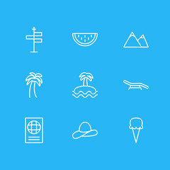 Vector illustration of 9 season icons line style. Editable set of mountain, watermelon, palm and other elements.