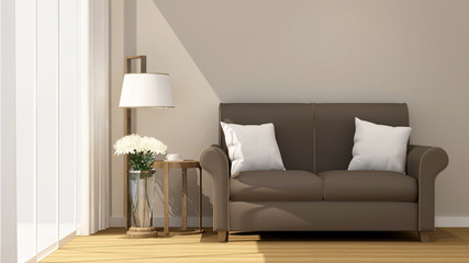Living room and balcony on sunshine day for artwork room for rent or residence - Interior Design - 3D Rendering