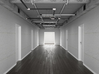 Betonowy tunel 3D z drzwiami
