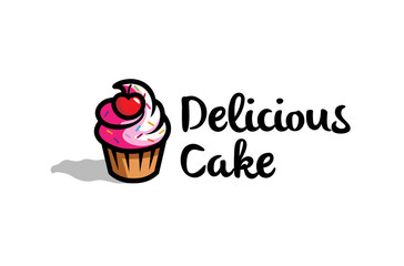 Fresh Delicious Cupcake With cherry Logo Design Symbol Illustration