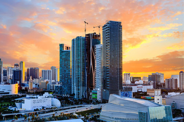 Sunset Behind Modern Miami Towers