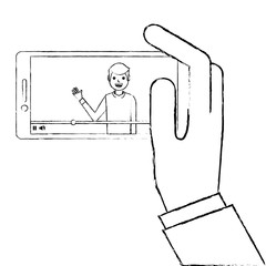 hand holding smartphone with video blogger on screen vector illustration sketch design