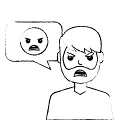 man with angry emoticon in speech bubble vector illustration sketch design