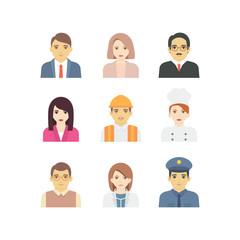 Set of people avatars profession