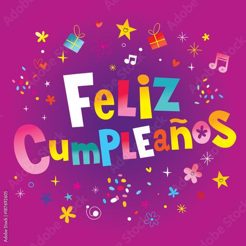 Feliz Cumpleanos Happy Birthday In Spanish Greeting Card Stock