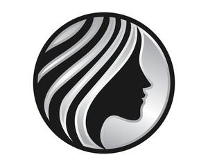 silver silhouette woman image vector icon logo