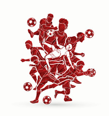 Soccer player team composition designed using grunge brush graphic vector.