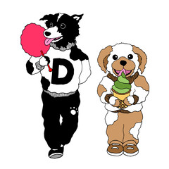 funny hipster dogs eating sweet ice cream, candy cotton vector hand drawn