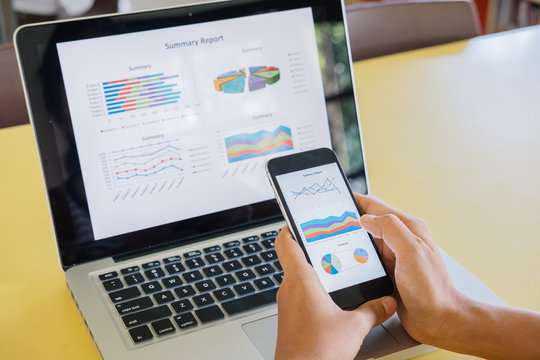 Businesswoman analyzing financial data
